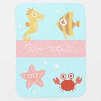 Kawaii Underwater Animals, For Babies Swaddle Blanket