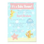 "Kawaii Underwater Theme Baby Shower Invite 5"" X 7"" Invitation Card"