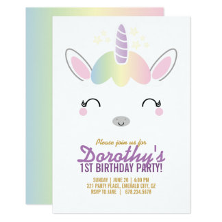 kawaii UNICORN BIRTHDAY party invitation 2
