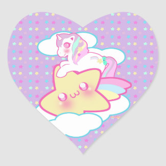 Kawaii Unicorn Heart Sticker