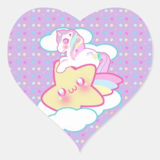 Kawaii Unicorn Heart Sticker
