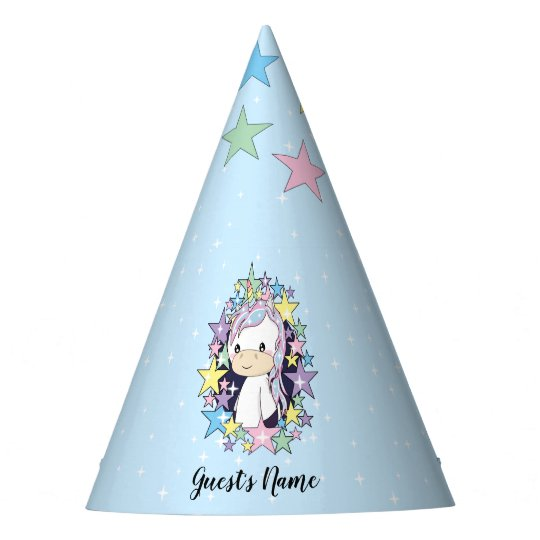 Kawaii Unicorn With Rainbow Stars Personalized Party Hat