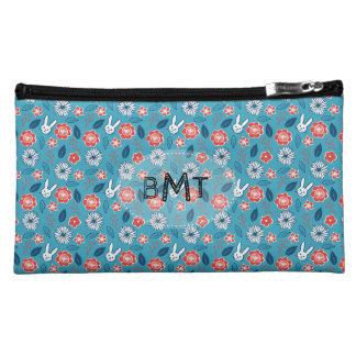 Kawaii Usagi Floral Pattern with Initials Makeup Bag