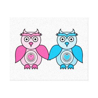 Kawaii Valentines Owls Canvas Print