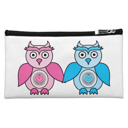 Kawaii Valentines Owls Cosmetic Bags