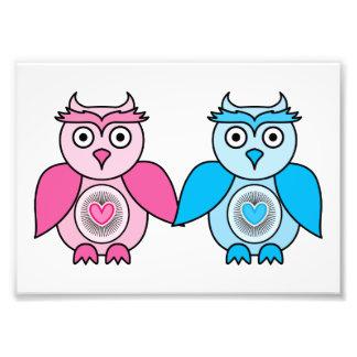 Kawaii Valentines Owls Photo Print