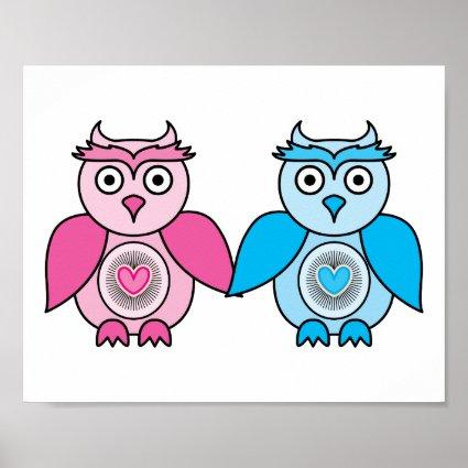 Kawaii Valentines Owls Poster