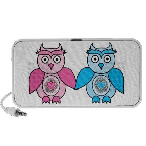 Kawaii Valentines Owls Portable Speaker