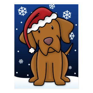 Kawaii Vizsla Christmas Postcard
