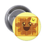 kawaii waffle butter & maple syrup breakfast pinback button
