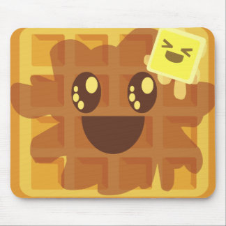kawaii waffle butter & maple syrup breakfast mouse pad
