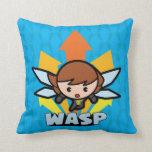 Kawaii Wasp Flying Throw Pillow