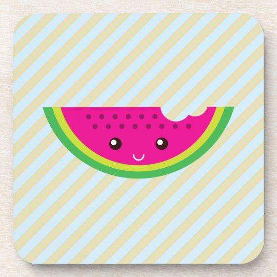 Kawaii watermelon beverage coaster