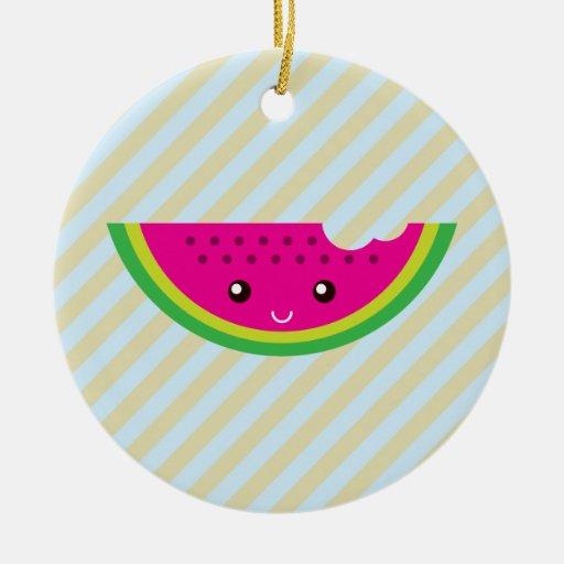 Kawaii watermelon ceramic ornament