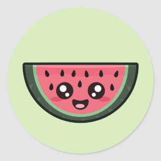 Kawaii Watermelon Classic Round Sticker