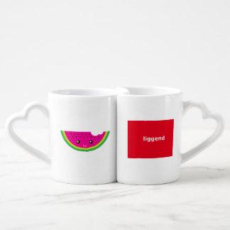 Kawaii watermelon coffee mug set