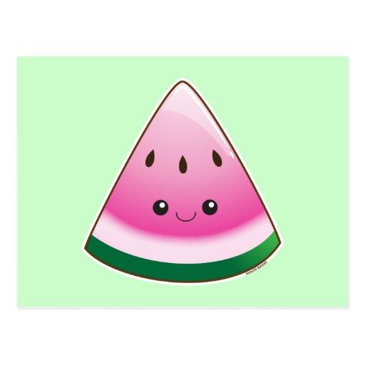 Kawaii Watermelon Postcard Zazzle