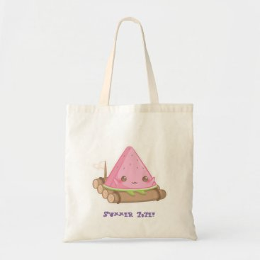 Beach Themed Kawaii Watermelon Slice in Cute Brown Raft Tote