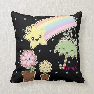 Kawaii weather garden so cute girly pattern throw pillow