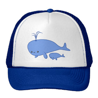 Kawaii Whale and Mama Whale Trucker Hat