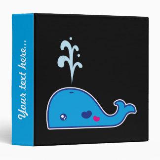 Kawaii whale vinyl binder
