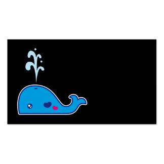 Kawaii whale bookmark business cards