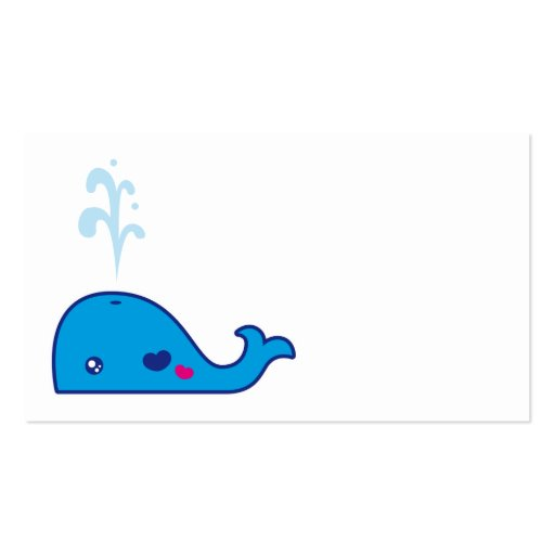 Kawaii whale bookmark business card templates