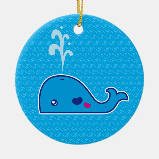 Kawaii whale ceramic ornament