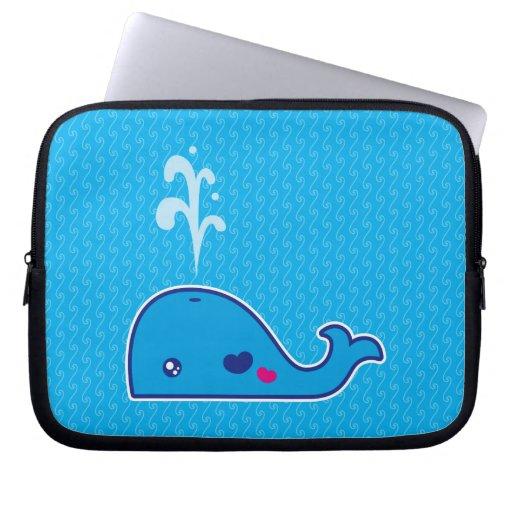 Kawaii whale laptop computer sleeves