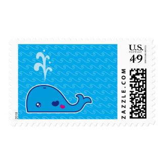 Kawaii whale postage stamp