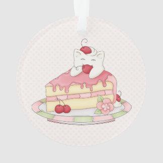 Kawaii Whipped Cream Kitty & Cherry Cake