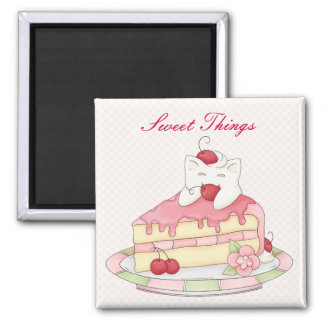 Kawaii Whipped Cream Kitty & Cherry Cake 2 Inch Square Magnet