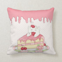 Kawaii Whipped Cream Kitty & Cherry Cake Throw Pillow