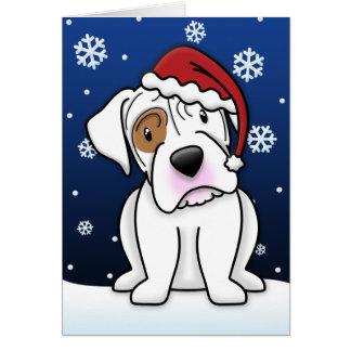 Kawaii White Boxer Christmas Card