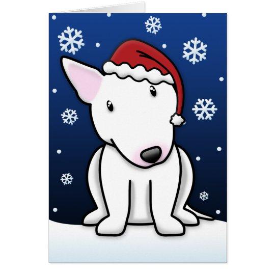 Kawaii White Bull Terrier Christmas Card