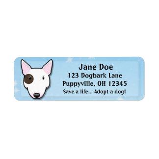 Kawaii White Bull Terrier (Eye Spot) Return Address Label