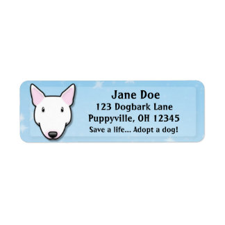 Kawaii White Bull Terrier Return Address Label