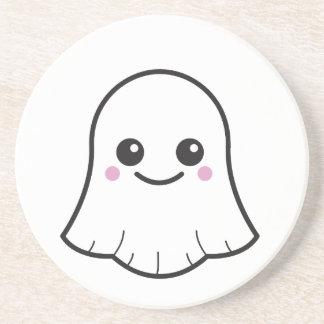 Kawaii white ghost drink coaster
