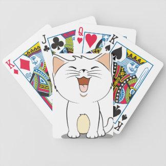 Kawaii white kitten bicycle playing cards