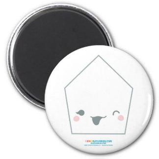 Kawaii White Pentagon 2 Inch Round Magnet
