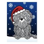 Kawaii White Puli Christmas Postcard