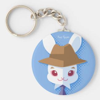 Kawaii White Rabbit Dapper Easter Bunny Keychain