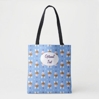 Kawaii White Rabbit Dapper Easter Bunny Pattern Tote Bag