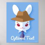 Kawaii White Rabbit Dapper Easter Bunny Poster