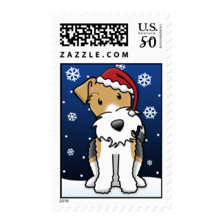 Kawaii Wire Fox Terrier Christmas Stamps