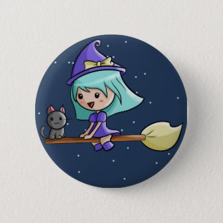 Kawaii Witch Badge Pinback Button