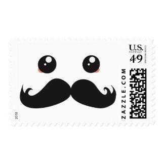 Kawaii With Cute Mustache postage