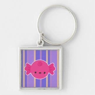 Kawaii Wrapped Candy on Purple Stripes Keychain