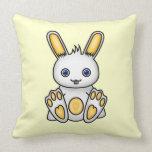 Kawaii Yellow Bunny Throw Pillows