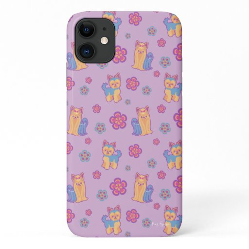 Kawaii Yorkie Cartoon Dog Pattern iPhone 11 Case